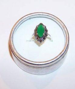 Inel din argint cu cristal de smarald multifatetat