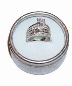 Inel din argint, de logodna, cu cristal de stanca