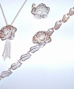 Set Trandafirul Iubirii, placat din argint, pe lant din ag