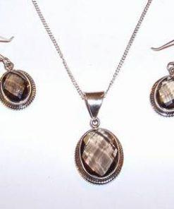 Set din argint cu cristale de cuart fumuriu multifatetate