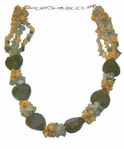Colier masiv din cristale de jad, calcit si citrin