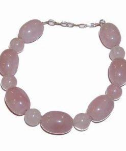 Bratara din cristale de cuart roz cu inchizatoare din argint