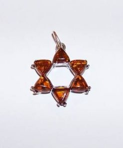 Pandantiv unisex - Hexagrama din argint cu chihlimbar