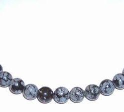 Colier din sfere de obsidian fulg de nea