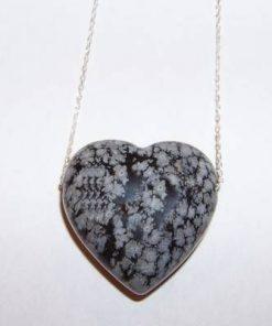 Pandantiv din obsidian - inimioara - pe lant de argint