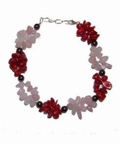 Bratara cu cristale de coral, cuart roz si hematit