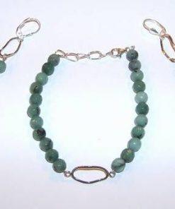 Set din argint cu cristale de smarald multifatetate