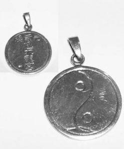 Pandantiv Reiki din argint cu Yin-Yang si simbol Reiki