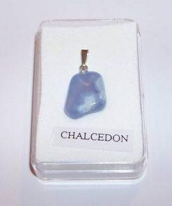 Cristal de calcedonie blue cu agatatoare din argint