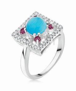 Inel din argint cu cristale roz si cristal albastru