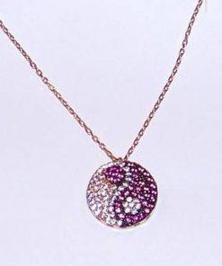 Pandantiv din argint placat cu aur roz - Yin-Yang