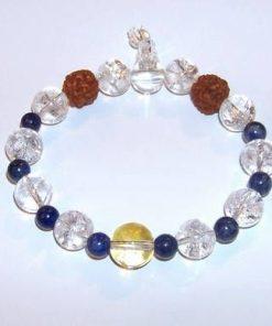 Bratara Mala cu lapis lazuli, Rudraksha, cristal de stanca