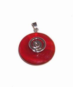 Pandantiv - simbol Reiki argintat cu cristal de calcedonie