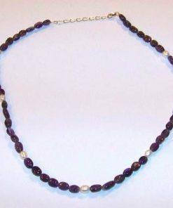 Colier din cristale de ametist si perle