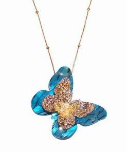 Fluturele Libertatii - Pandantiv placat pe lant
