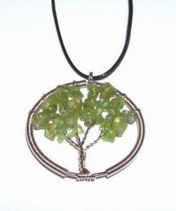 Pandantiv argintat cu olivina - Copacul Vietii