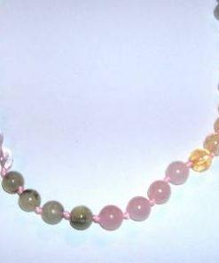 Colier cu sfere din cristal - prehnita, citrin, cuart roz