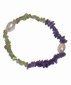 Bratara pe elastic cu cristale de epidot, ametist si perle