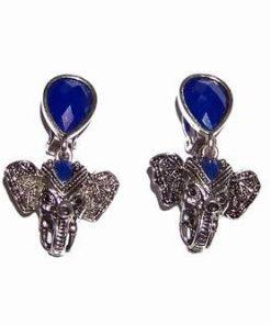 Cercei din metal nobil cu Ganesh si cristale albastre