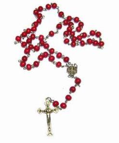 Rozario cu sfere rosii si cruce