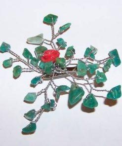 Brosa din metal nobil cu cristale de amazonit