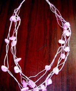 Colier din cuart roz pe siret roz - model deosebit!