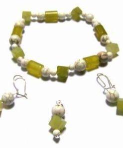 Set fantezie din cristale de jad verde si howlit