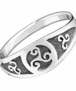 Inel celtic, unisex, din inox, cu cele 3 tipuri de noroc