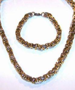 Set barbatesc din inox placat cu aur - model masiv