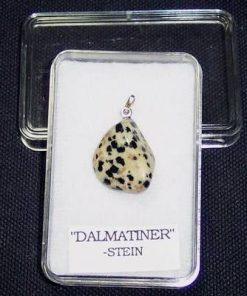 Pandantiv unisex din jasp dalmatian cu agatatoare din argint