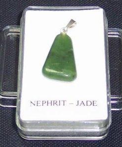 Pandantiv unisex din nefrit si jad cu agatatoare din argint