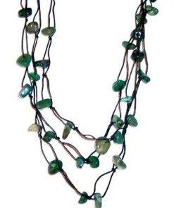 Colier din nefrit, pe siret verde - model deosebit!