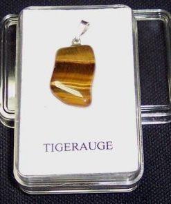 Pandantiv unisex din ochi de tigru cu agatatoare din argint