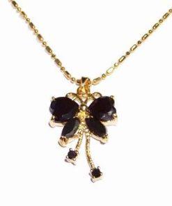Pandantiv placat cu aur de 14 K cu safir negru