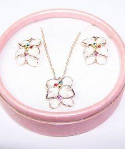 Set placat cu aur roz, compus din pandantiv si cercei