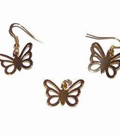 Set placat cu aur - cercei si pandantiv - Fluturi