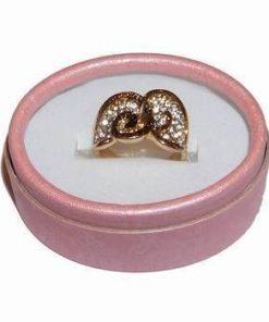 Inel placat cu aur si strasuri - Cuplu stilizat