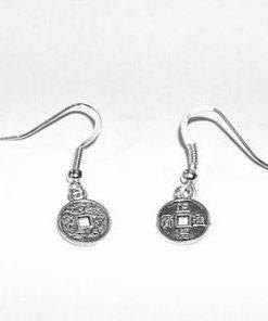 Cercei placati - monedele abundentei - argintii