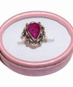 Inel placat cu argint si cristal de rubin multifatetat
