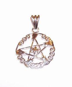 Pandantiv placat cu argint - Pentagrama si floarea vietii