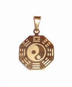 Pandantiv unisex din inox, placat cu aur - Yin-Yang