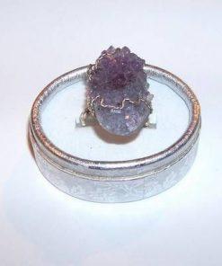 Inel placat cu geoda de ametist - unicat