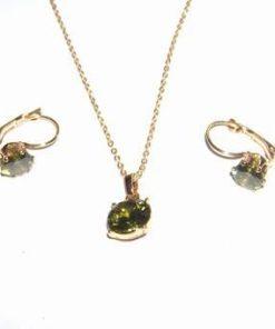 Set placat cu aur si cristal de olivina