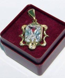 Pandantiv placat cu aur si cristalul norocos - model unicat!