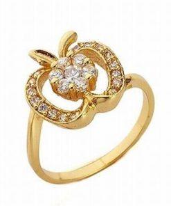 Inel placat cu aur 14 K cu cristale de zirconia albe