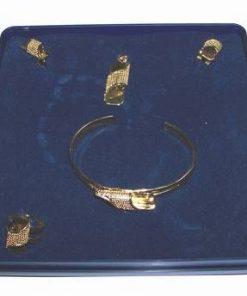 Set placat cu aur de 18 K: bratara, cercei, inel si pandant
