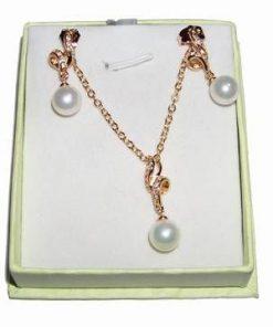 Set din aur de 18K cu perle - pandantiv si cercei