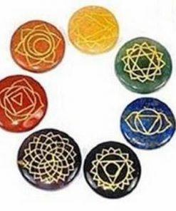 Set de 7 cristale rotunde cu simbolulurile celor 7 chakre