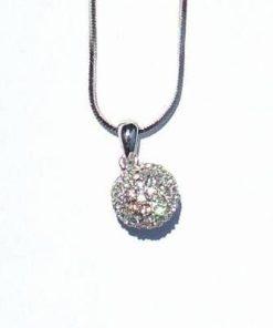 Pandantiv rotund din cristal Swarovski in metal argintiu