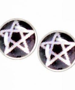 Cercei din metal nobil cu pentagrama magica -